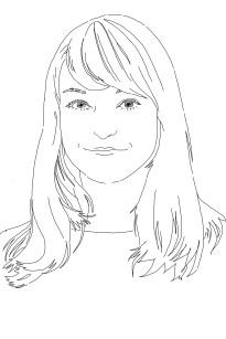 Auf der Skizze lächelt Réka und blickt in die Kamera. Ihre Haare fallen weich auf die Schultern.