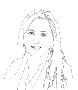 Anke hatte lange Haare, die ihr in dieser Skizze vor der Schulter liegen. Sie hat den Kopf aus Sicht der Betrachter*innen leicht nach rechts geneigt und lächelt in die Kamera.