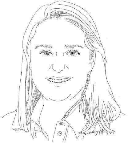 Dieses gezeichnete Porträt von Charlotte zeigt sie mit etwa schulterlangen Haaren, die sie offen trägt. Sie lächelt gerade in die Kamera.