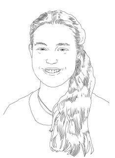 Franziskas lange Haare sind auf diesem gezeichneten Portrait zu einem Zopf zusammengebunden und fallen über ihre linke Schulter. Sie lächelt in die Kamera.