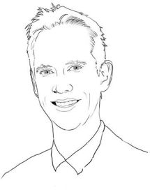 Diese Porträtskizze zeigt Jens mit leicht zur Seite geneigtem Kopf. Er trägt kurze Haare und lächelt. Am unteren Ende ist noch der Hemdkragen erkennbar.