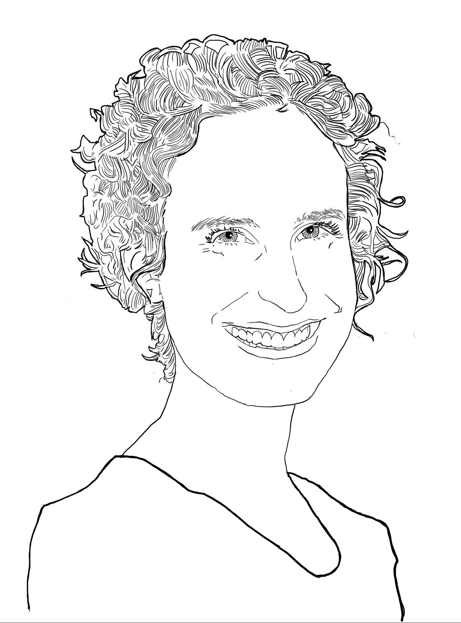 Die Porträtskizze zeigt Laura mit lockigen Haaren. Sie lächelt den Betrachtenden an.