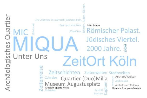 Mehrere Namensvorschläge, zum Beispiel MIQUA, Unter Uns, ZeitOrt Köln, MIC.