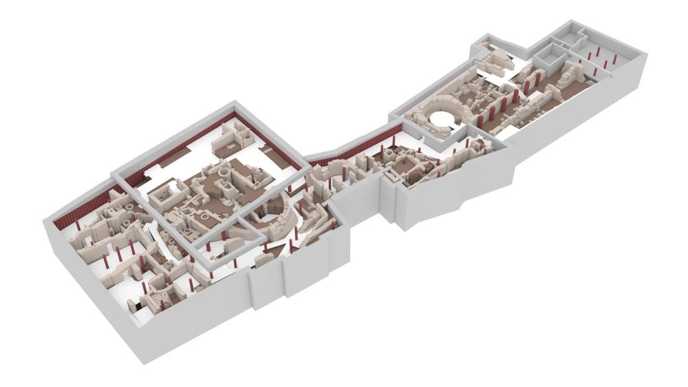 Aufsicht auf das Modell mit dem archäologischen Befund, dem sich darin erstreckenden Rundgang und den Bohrpfählen