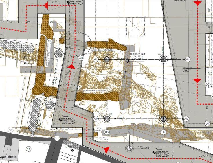 Ausschnitt aus dem Grundriss eines Bauplans der Architekten.