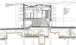 Bauplan, der einen Schnitt durch das Museum zeigt. Unten ist das Bodendenkmal zu erkennen. Auf Erdgeschossniveau befindet sich der Museumseingang, von dem Treppen in das erste Geschoss und aus dem Archäologischen Rundgang sowie ein Aufzug angeordnet sind.