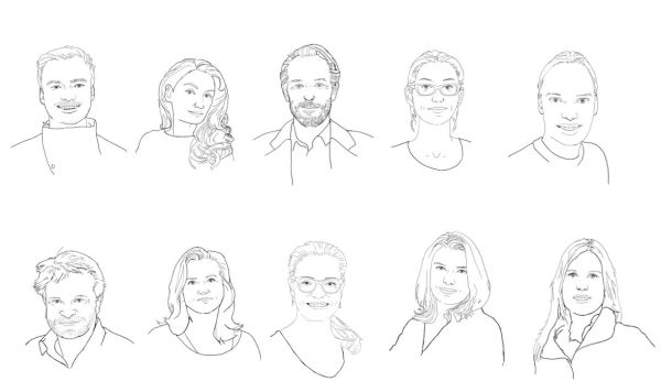 Porträtsskizzen des 10-köpfigen MiQua-Teams
