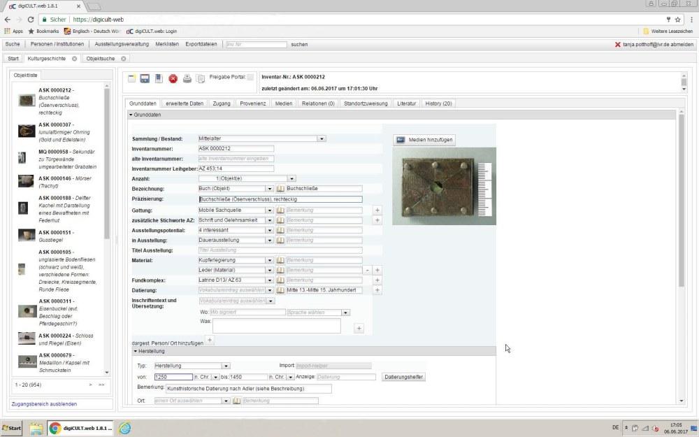 Beispielhaft wird hier ein Datensatz gezeigt mit einem Foto des Fundes und verschiedenen Eingabefeldern.
