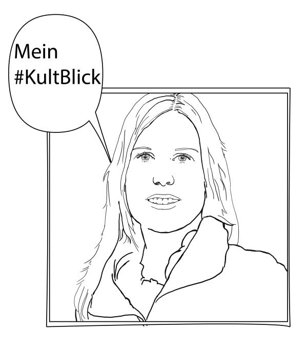 """Skizzenhaftes Portrait von Stephanie Buchholz mit einer Sprechblase, in der """"Mein #KultuBlick"""" steht."""