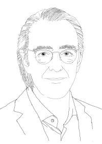 Schwarz-weiß Skizze von Michael Jakobs. Er trägt eine Brille und hat die Haare nach hinten gekämmt.