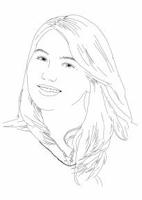 Auf der Skizze lächelt Samantha. Ihre langen Haare liegen locker auf den Schultern. Sie trägt eine Kette mit einem Elfenmotiv.