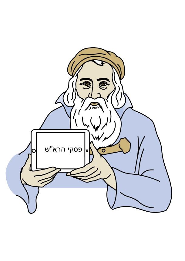 Ein alter Mann mit langem weißen Bart und einer mützenähnlichen Kopfbedeckung hält ein iPad in den Händen