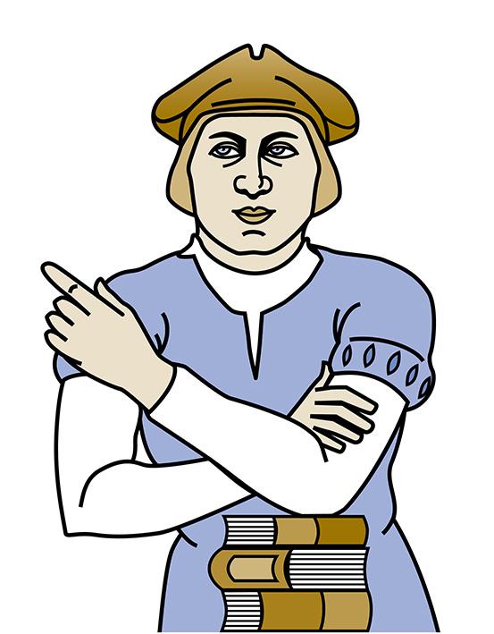 Hermann von Weinsberg als gezeichneter Mann mittleren Alters. Er trägt ein weißes Untershirt und einen blaugrauen Überwurf. Er schaut links an den Betrachter*innen vorbei und verschränkt die Arme vor der Brust. Vor ihm liegt ein Stapel Bücher. Als Kopfbedeckung trägt er eine braune Stoffmütze.