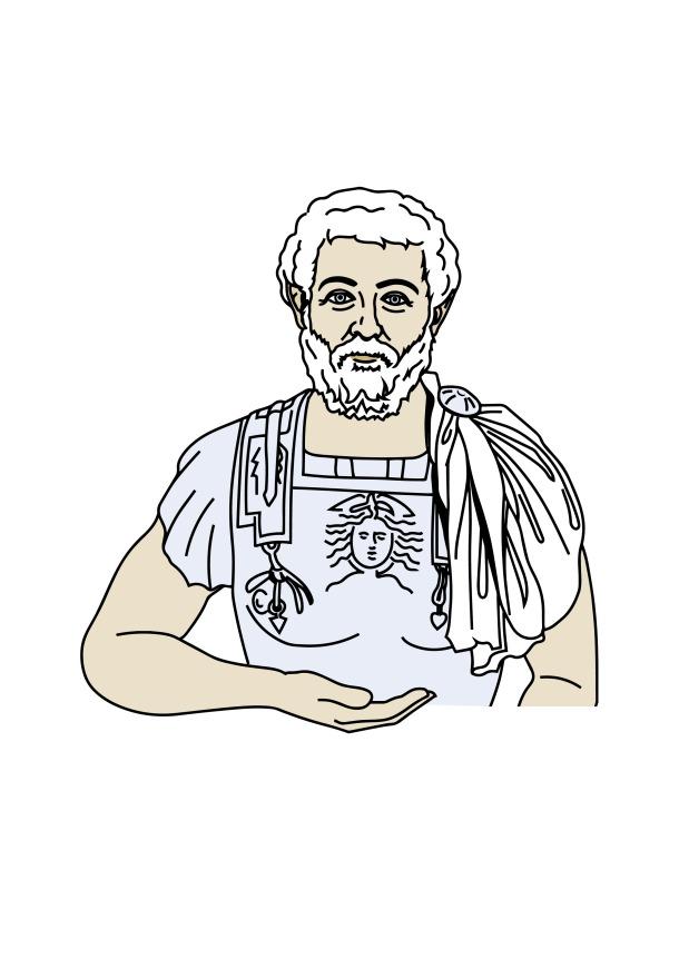 Alter Mann mit weißem Haar und Bart, bekleidet mit einem verzierten Brustharnisch und einem über die linke Schulter geworfenen Tuch hält in der rechten Hand einen QR-Code