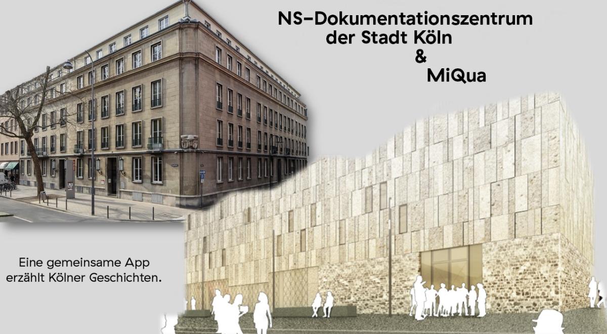 Die Fassaden des NS-Dokumentationszentrums der Stadt Köln und des zukünftigen MiQua sind auf dem Beitragsbild zu sehen.