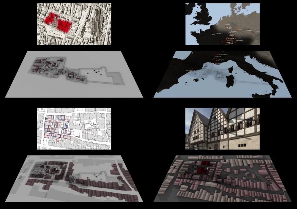 8 in 2 Reihen von jeweils 4 übereinander angeordnete Abbildungen von alten Stadtansichten, Straßenkarten, Landkarten und Ansichten von Fachwerkhäusern