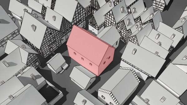 Schwarz-weiß-Zeichnung von vielen Fachwerkhäusern. In der Mitte steht ein rotes Haus. Das ist die mittelalterliche jüdische Synagoge