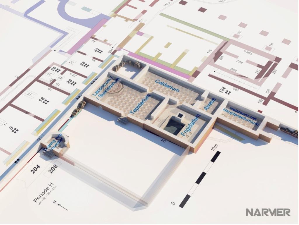 Schematischer Plan der Räume von oben. Farbige Einteilung mit Beschriftung.