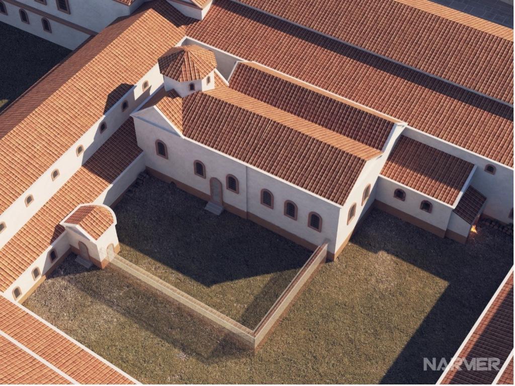 Rekonstruktion des Kölner Statthalterpalastes von oben. Weiße Fassaden, Rote Ziegel Dächer