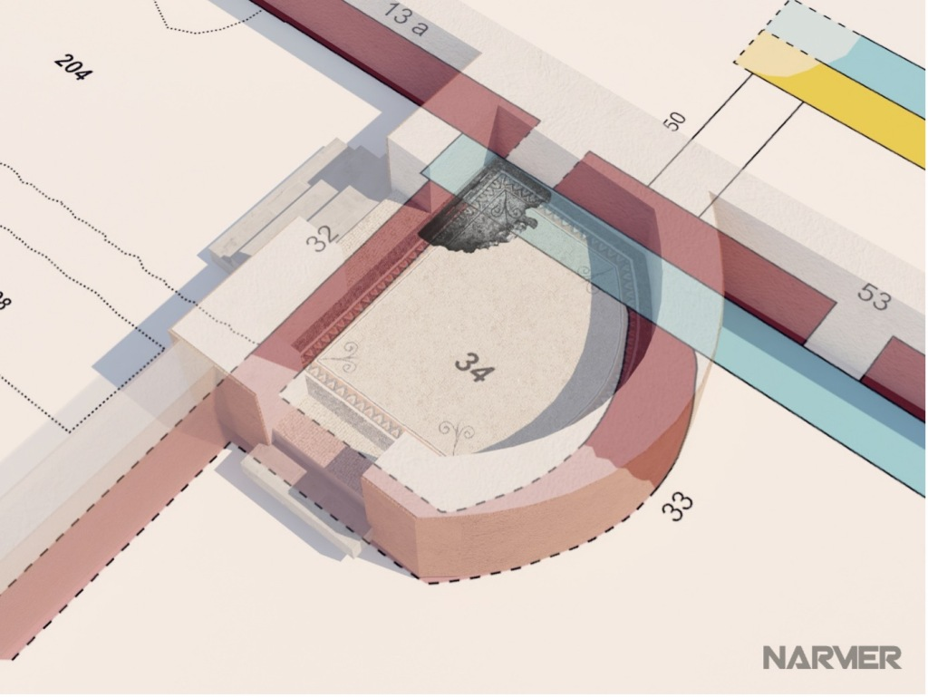 Detail einer schematischen Darstellung der Räume des Kölner Statthalterpalastes. Im Zentrum Raum 34 mit angedeuteten Mauern.