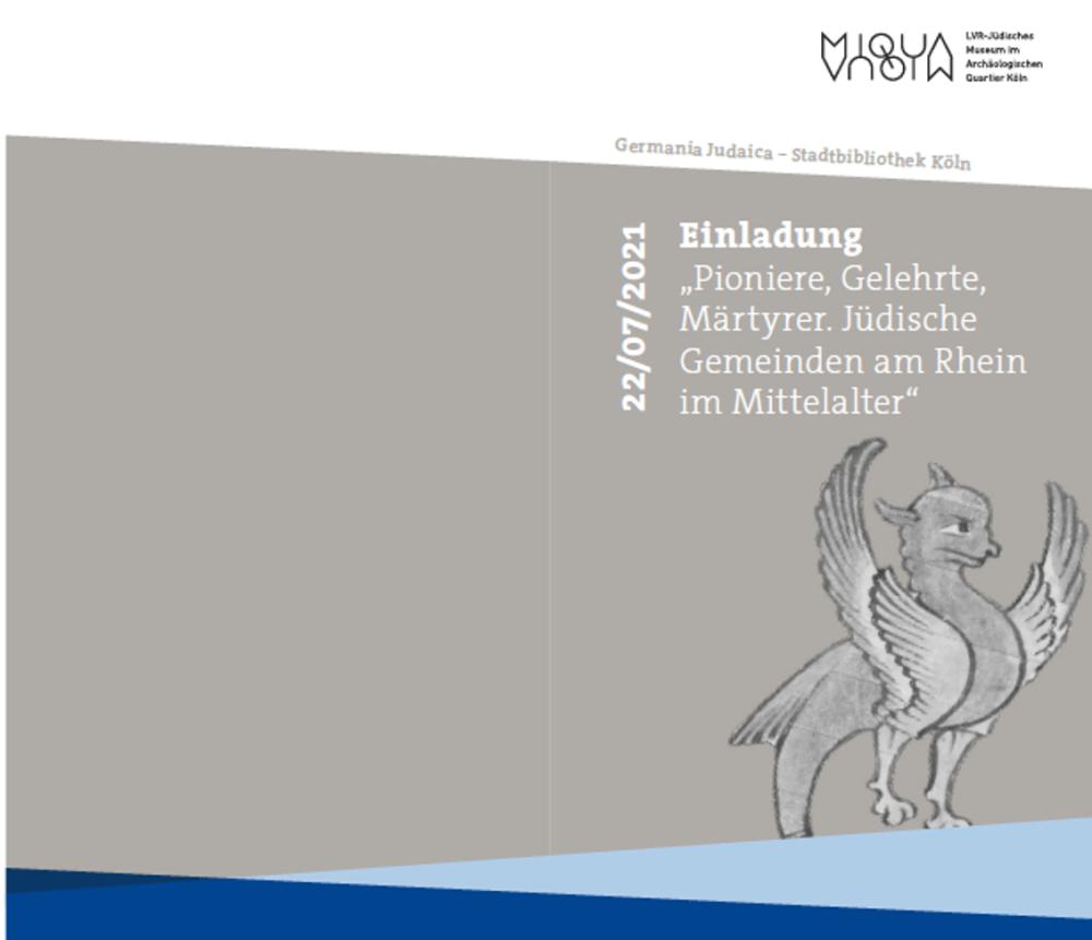 Deckblatt des Einladungsflyers zur Veranstaltung. Machsor-Illustration, gezeichnetes Flügelwesen auf grauem Hintergrund. Außerdem Datum und Titel der Veranstaltung.